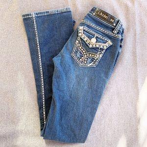 LA Idol Dark Wash Embellished Boot Cut Jeans